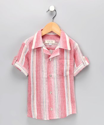 Red Stripe Button-Up Shirt - Infant, Toddler & Boys