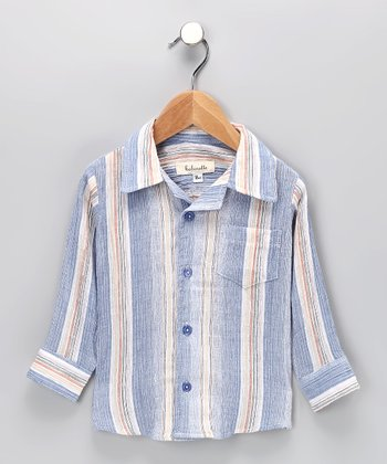 Blue Stripe Button-Up Shirt - Infant, Toddler & Boys