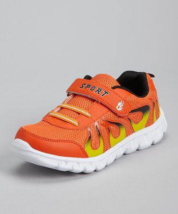 Orange & Black Flame Running Shoe