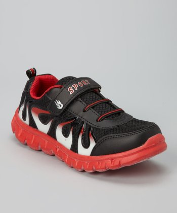 Black & Red Flame Running Shoe