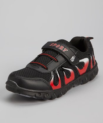 Red & Black Flame Running Shoe