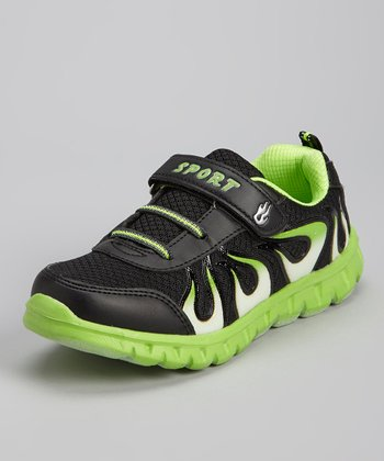 Black & Neon Green Flame Running Shoe