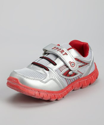 Silver & Red Mesh Running Shoe