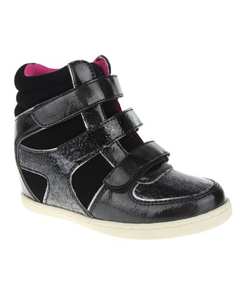Black Wedge Hi-Top Sneaker