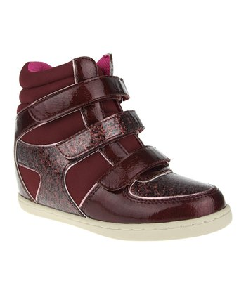 Burgundy Wedge Hi-Top Sneaker