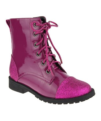 Berry Glitter Combat Boot
