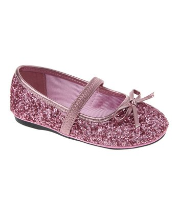 Muted Mauve Glitter Mary Jane Ballet Flat