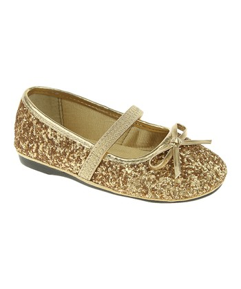 Gold Glitter Mary Jane Ballet Flat