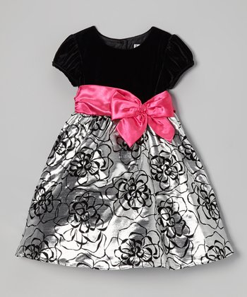 Pink & Black Satin Bow Dress - Infant, Toddler & Girls