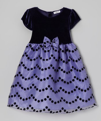 Purple Velour & Organza Cap-Sleeve Dress - Toddler & Girls