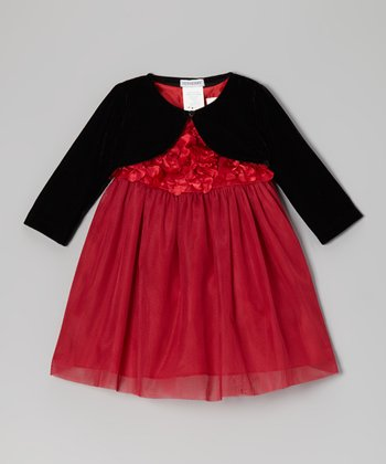 Red & Black Rosette Tulle Dress & Bolero - Infant