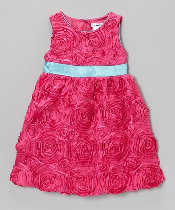Fuchsia & Sky Blue Alexandria Dress - Toddler