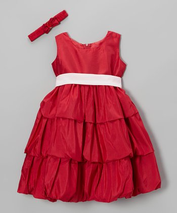 Apple Red Tiered Dress & Bow Headband - Infant & Toddler