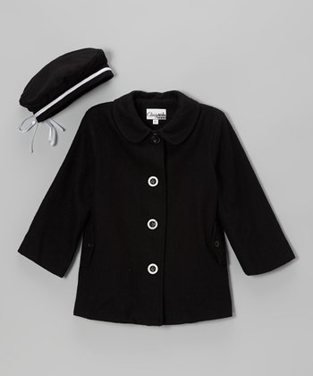Black Peacoat & Beret - Toddler & Girls