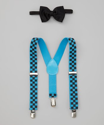 Blue Checkerboard Suspenders & Black Bow Tie