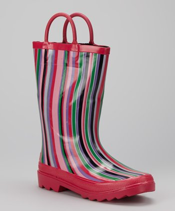 Pink Stripe Storm Chief Rain Boot - Kids