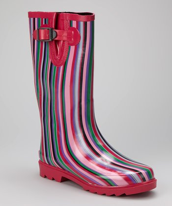 Pink Stripe Puddletons Rain Boot - Women