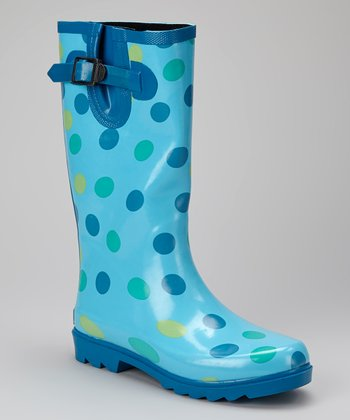 Blue Polka Dot Puddletons Rain Boot - Women