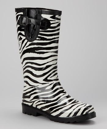 Black & White Zebra Puddletons Rain Boot - Women