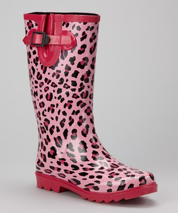 Pink Cheetah Puddletons Rain Boot - Women
