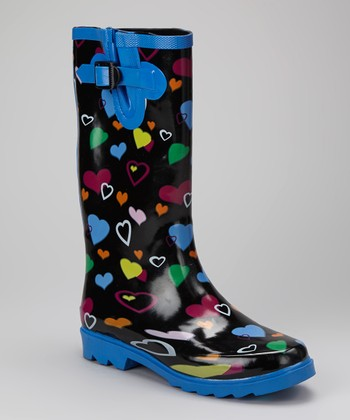 Blue & Purple Hearts Puddletons Rain Boot - Women