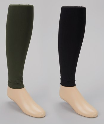 Army Green & Black Footless Tights Set - Girls