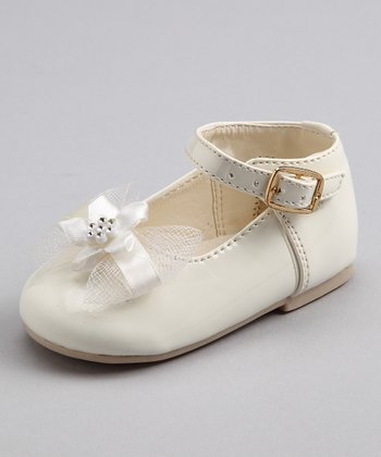 Bone Patent Tulle Bow Shoe