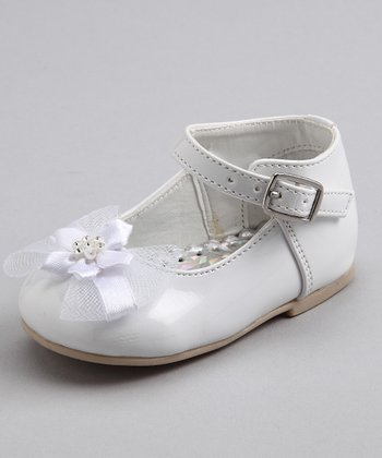 White Patent Tulle Bow Shoe