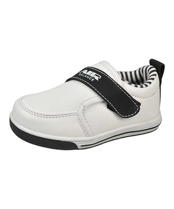 White & Black Single-Strap Sneaker