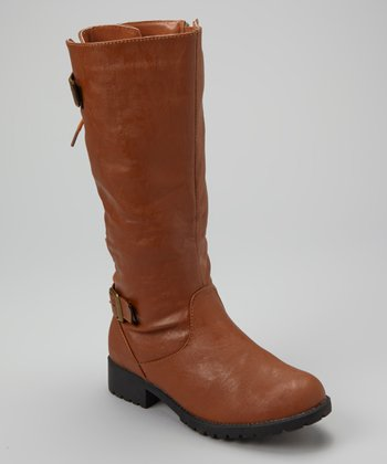 Cognac Back Lace-Up Boot