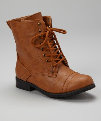 Cognac Lace-Up Biker Boot