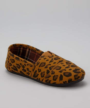 Brown & Tan Leopard Slip-On Shoe
