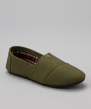 Olive Green Slip-On Shoe