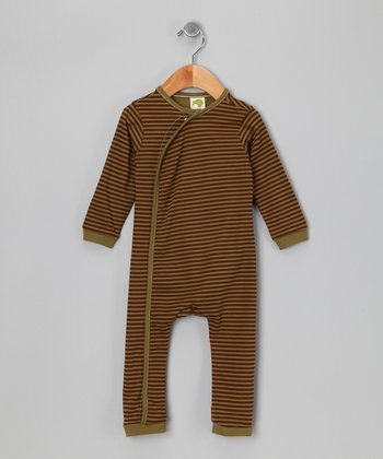 Olive Green Stripe Organic Playsuit - Infant