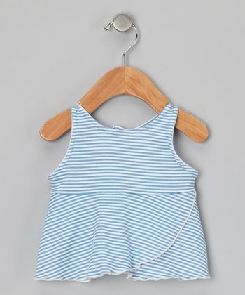 Cornflower Stripe Organic Flutter Top - Infant & Girls