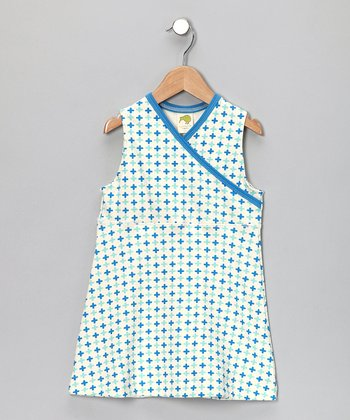 Blue & White Surplice Dress - Infant, Toddler & Girls