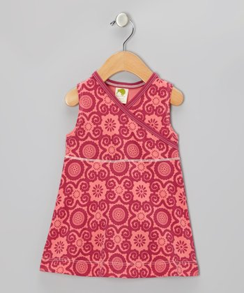 Pink Rose Flora Organic Surplice Dress - Infant & Toddler