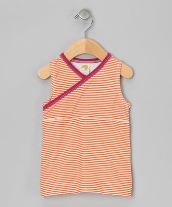Marigold Stripe Organic Surplice Dress - Infant, Toddler & Girls