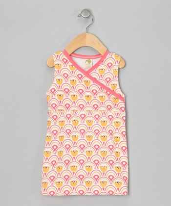 Pink & Yellow Organic Surplice Dress - Infant, Toddler & Girls