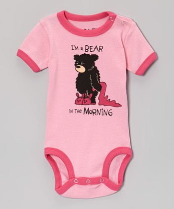 Pink 'I'm a Bear in the Morning' Bodysuit - Infant