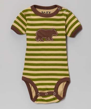 Green Stripe Bear Bodysuit - Infant