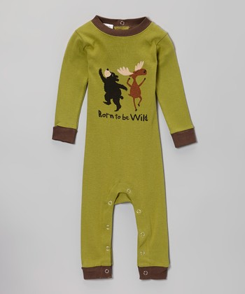 Green 'Born to Be Wild' Flapjack Playsuit - Infant