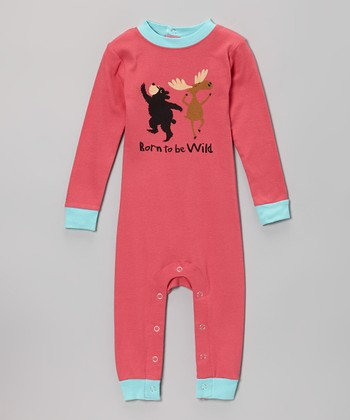 Pink 'Born to Be Wild' Flapjack Playsuit - Infant