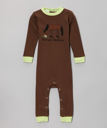 Brown 'Pasture Bedtime' Flapjack Playsuit - Infant