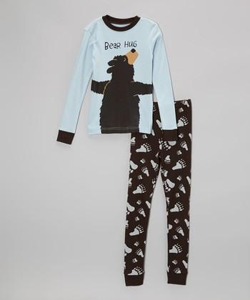 Blue 'Bear Hug' Pajama Set - Toddler & Kids