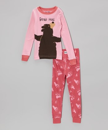 Pink 'Bear Hug' Pajama Set - Toddler & Kids