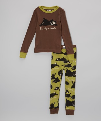 Green 'Bearly Awake' Pajama Set - Toddler & Kids