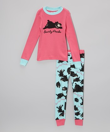 Pink 'Bearly Awake' Pajama Set - Toddler & Kids