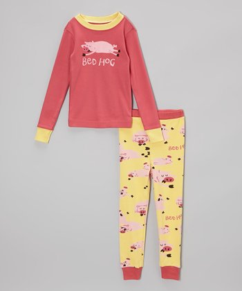 Pink & Yellow 'Bed Hog' Pajama Set - Toddler & Girls
