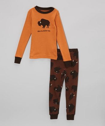 Orange & Brown Buffalo Pajama Set - Toddler & Kids